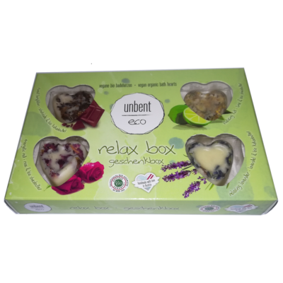 Bio, vegán, kézzel készített fürdőkrém szív, ajándékdoboz 4 x 18 g Velvety Manufaktur