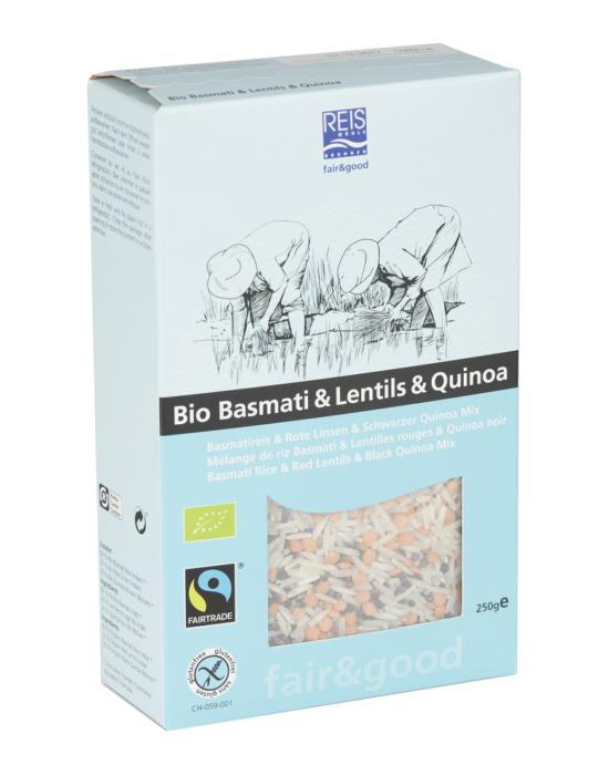 Bio Basmati rizs & Lencse & Quinoa 250 g (Fairtrade), Reismühle Svájc