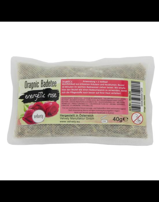 Bio fürdőtea filtertasakban, Energikus rózsa, 40 g Velvety Manufaktur